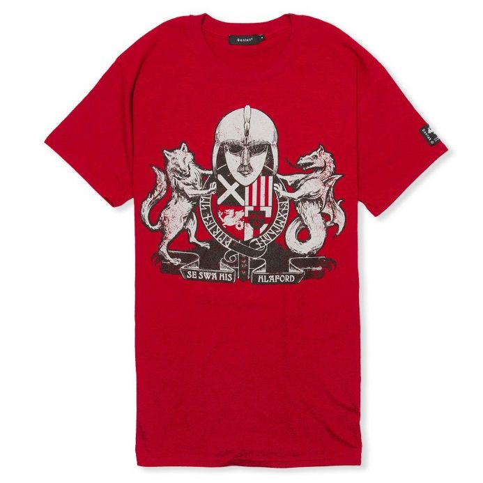 Englisc Arms antique red Anglo-Saxon t-shirt with Senlak branding on the sleeve
